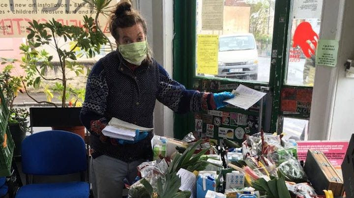 Base&Roses packs food boxes for the community in Bristol, and puts flyers in the boxes as a part of community organising