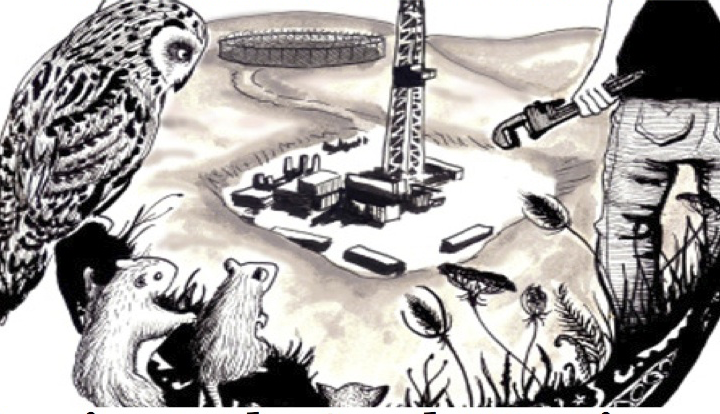Image shows animals and a human holding a wrench overlooking a fracking site