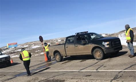 A COVID-19 checkpoint set up by the Cheyenne River Sioux