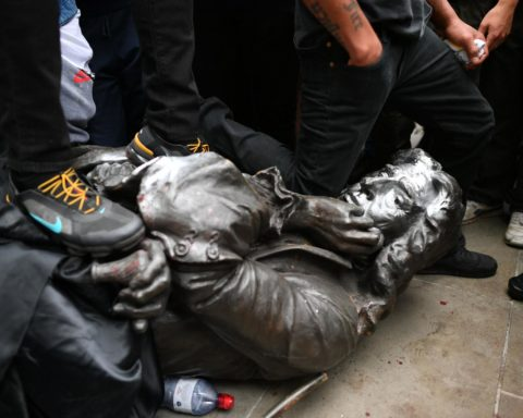 The statue of Edward Colston, toppled at a Black Lives Matter demonstration