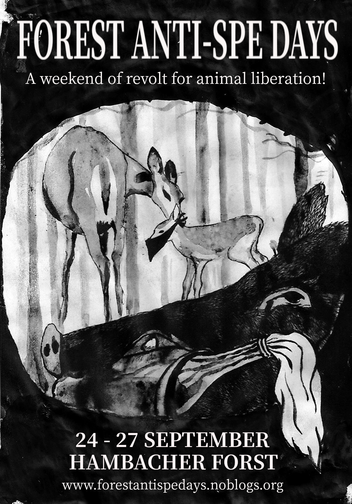 Image shows a poster for the event with an illustration of deer