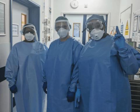 NHS workers wearing Scrubs from 'ScrubHub'