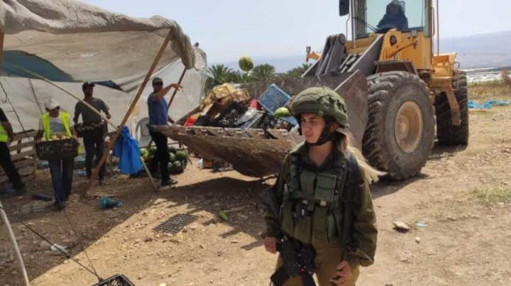 The Israeli military demolishes a fruit and vegetable stall in the Jordan Valley