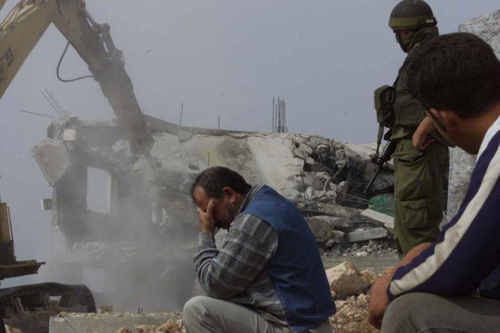The Israeli military demolishes a Palestinian home