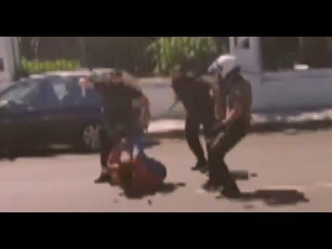 Police savagely beat Vasilis Maggos