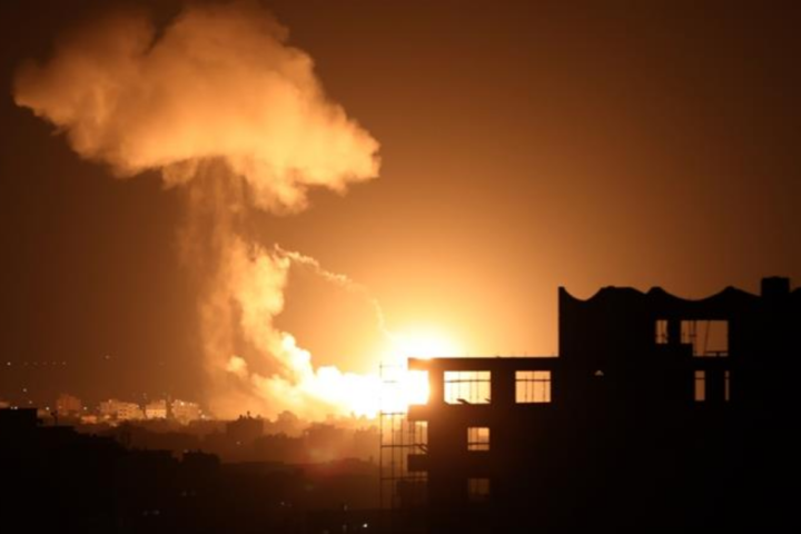 Israeli airstrikes on Gaza City, Gaza on August 18, 2020: Photo by Anadolu Agency