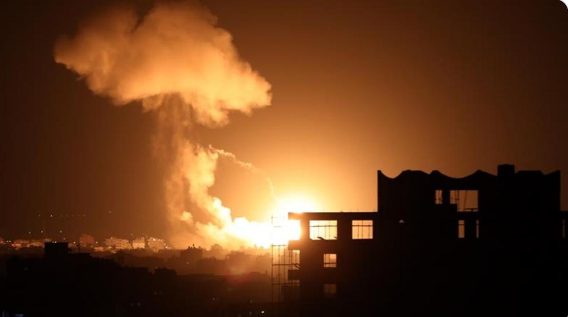 Israeli airstrikes on Gaza City, Gaza on August 18, 2020: Photo by Anadolu Agency