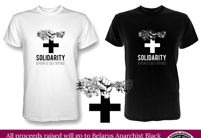Image shows a tshirt saying solidarity is peoples' self defence