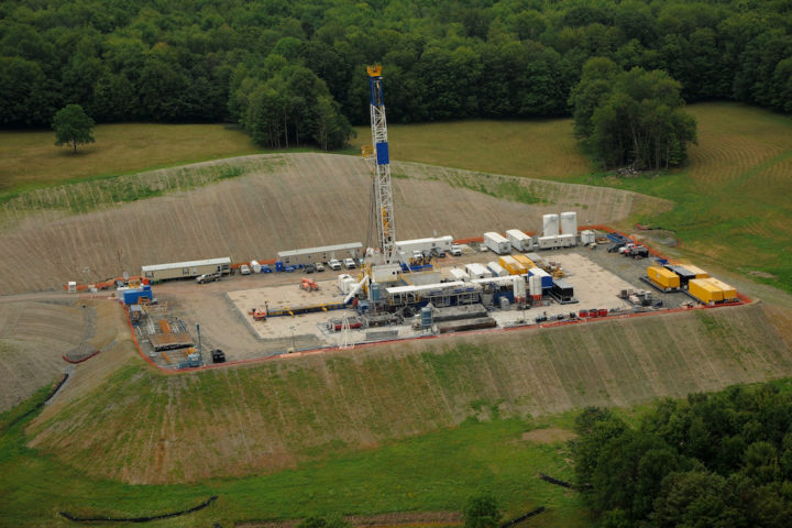 Image shows a fracking site