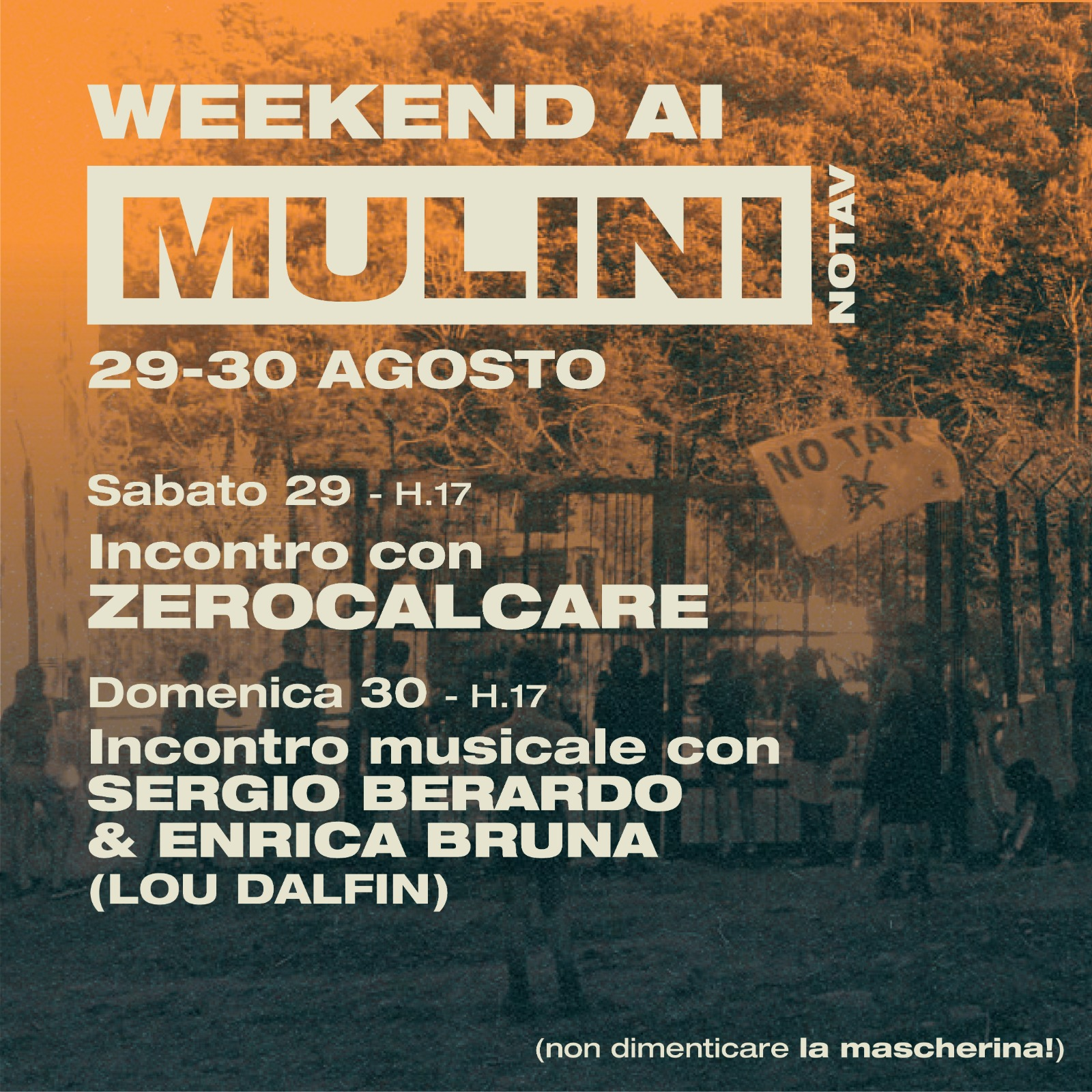 Flyer for events at the Presidio Mulini in late August