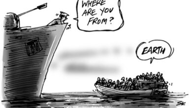Refugees from earth cartoon