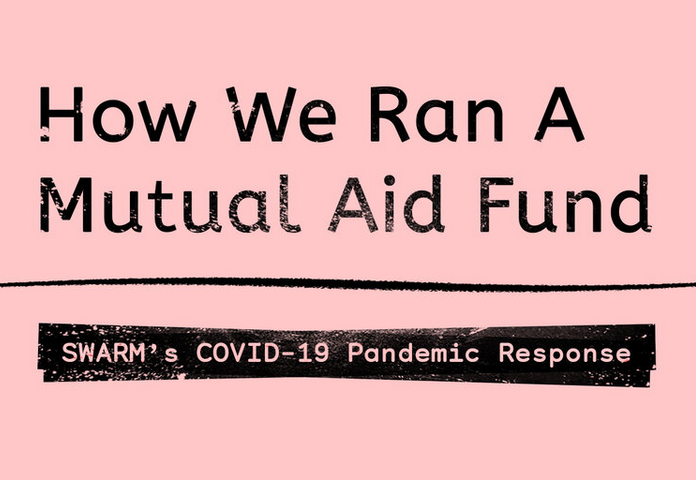 Image shows a pink square with 'how we ran a mutual aid fund' in text