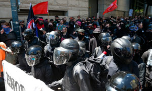 helmets worn on a demo