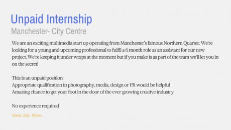 Unpaid internship advert