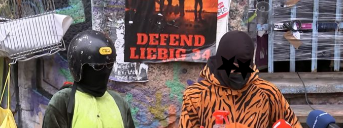 an image from the press conference about the eviction of liebig 34