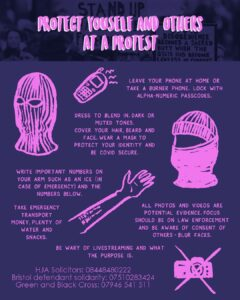 Protect yourselves and others at a protest
