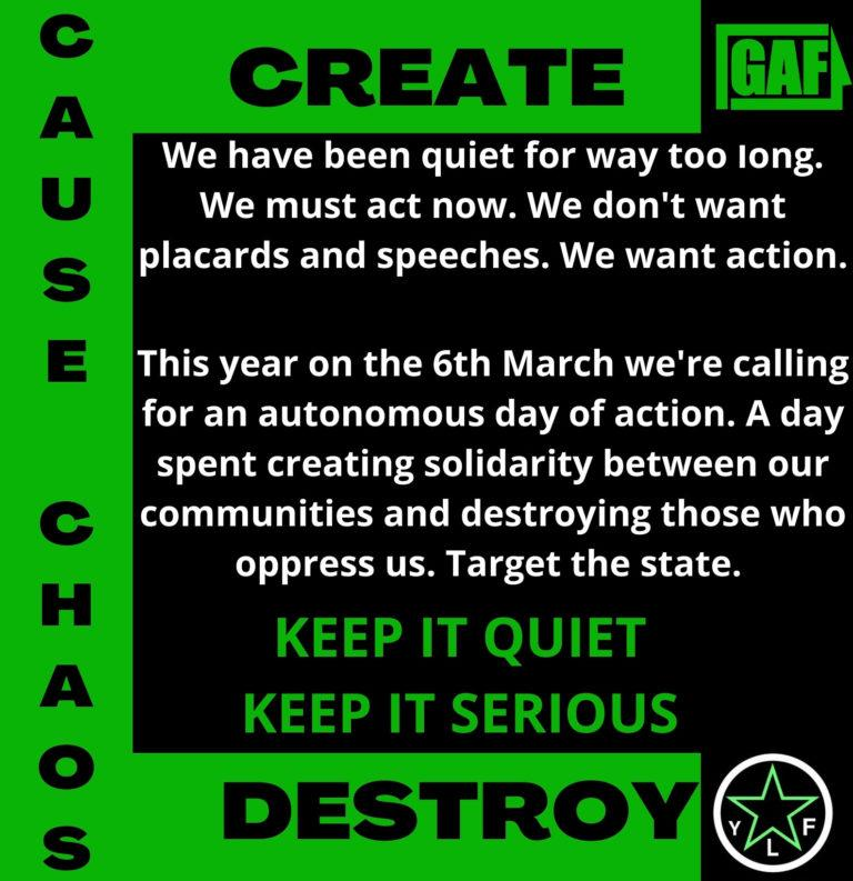 Poster for a day of action called by the green anti capitalist front