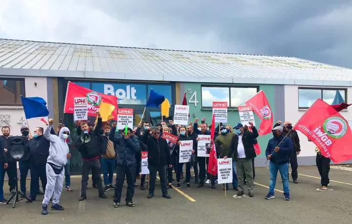 Image of protest outside the Bolt office