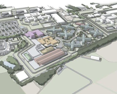Image shows a drawing of the proposed Chorley mega prison