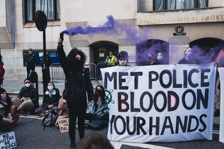 Sisters Uncut gathered by the Old Bailey to hold The Met accountable for their role in Sarah Everard's murder.