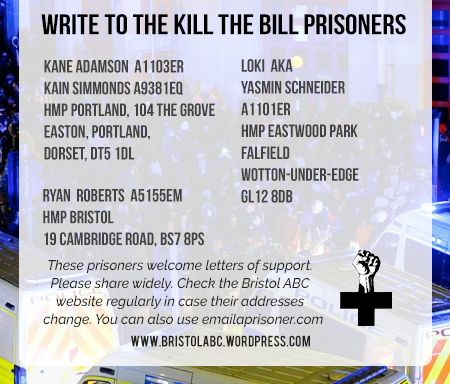 Write to the Kill the Bill prisoners